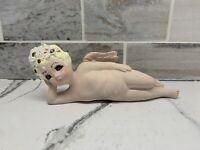 Rare Vintage Scioto Ceramic Hand Painted Naked Cherub Angel Figurine