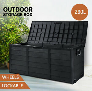 Outdoor Storage Box Container Garden Shed Toys Tool Chest Indoor Outdoor Black