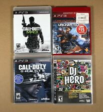 Lot of 4 PS3 Games Playstation 3 Bundle. Uncharted 2, DJ Hero, MW3, CoD Ghosts