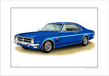 1968 HOLDEN HK  GTS MONARO   LIMITED EDITION CAR DRAWING PRINT  ( 7 CAR COLOURS)