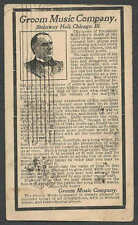 DATED 1901 PC CHICAGO IL GROOM MUSIC CITES PRES McKINLEYS ASSASSINATION SEE INFO
