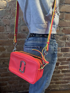 Marc Jacobs Snapshot Crossbody Bag - Hot Pink With Yellow Details - NEW!