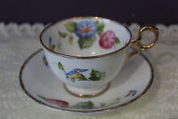 LOVELY OLD ROYAL BONE CHINA ENGLAND MORNING GLORY TEA CUP AND SAUCER
