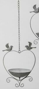 Bird Bath, Bird Bath to Hang, Retro Vogel-Futterschale Heart-Shaped, Metal