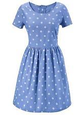 Aniston Damen Jeanskleid Kleid kurzarm Muster Punkte blau getupft 299561 .