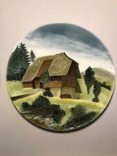 "Hand Painted G S Zell German Schwarzwald Baden 13"" Decorative Wall Plate #2215"
