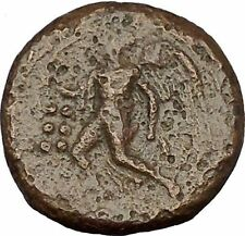 HIMERA in SICILY 420BC Pan Goat Helmet Nike Authentic Ancient Greek Coin i53262