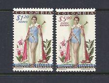 Colombia 1959 Miss Universe Scott C317-18 Vf Mnh