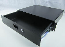 2U SPACE LOCKABLE RACK MOUNT DRAWER AUDIO/ DJ/ EQIUPMENT STORAGE