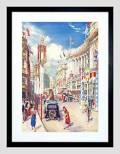 REGENT STREET DECORATED 1937 CORONATION LONDON ENGLAND FRAMED PRINT B12X12573