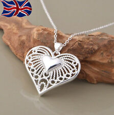 925 Sterling Silver Heart Necklace Filigree Chain Link Pendant Gift UK