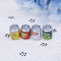 4Pcs 1:12 Dollhouse miniature drink cans doll house kitchen accessories WA