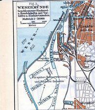 Wesermünde Hafen 1926 kl. orig Karte Geestemünde * geplante Hafenerweiterungen