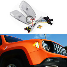 2x Amber LED Lights Side Marker Covers Lamps Update Kit For 15-up Jeep Renegade