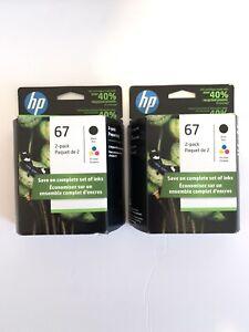 2 OEM HP 67 Black & Tri-color 3YP29AN Ink Cartridges Exp 2/23