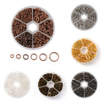 1600pcs/Box Iron Open Jump Rings Unsoldered Round Loop Links 6-Size Findings Kit