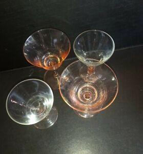 4 Vintage Small Coupe Glasses  2 Barley twist Stem