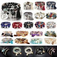 Boho Multilayer Natural Stone Agate Turquoise Bangle Bead Bracelet Jewelry Gifts