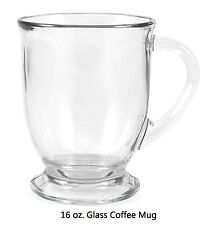 Coffee Clear Glass Mug Cup Tea Café Bistro 16 Oz NoSalesTax