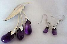 """Silvertone leaf brooch pin with 3 amethyst stone """"flowers"""" & dangle earrings"""