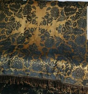 Georgeous! Vintage/ Antique Embroidered Silk  Floral piano shawl knotted Fringe