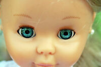 Ojos para muñeca 24 mm azul  reborn bjd ooak dollfie manualidades nancy