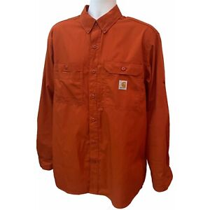 Carhartt Force Mens Relaxed Fit Button Front Roll Up Sleeves Vented Shirt Large