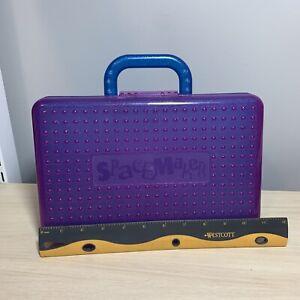 Spacemaker Blue & Purple Glitter Large Pencil Box w/ Handle Plastic Storage Case