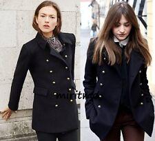 Zara Abrigo botones de oro negro de lana corta Militar Chaqueta Blazer Medio-M