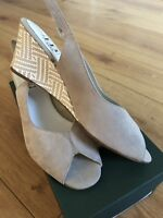 BRAND NEW HB ITALIA ladies peep toe wedges in beige suede leather UK SIZE 7.5/41