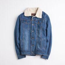 Mens Denim Coat Winter Warm Fleece Lined Jacket Outwear Parka Leisure Cardigan