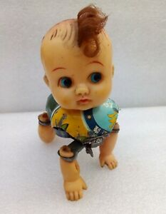 VINTAGE Crawling Doll TINPLATE TOY 1950's MADE IN JAPAN TOYS WINDUP working !!