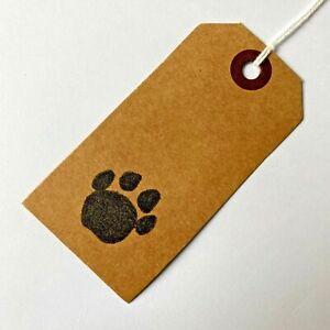 10 x DOG PAW PRINT Brown Kraft Paper Gift Tags Vintage Style Handmade