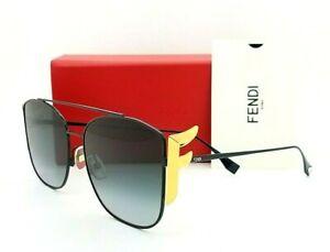 "New Fendi sunglasses FF0380/G/S 8079O 62mm Black Gold Fendi ""F"" / Grey Gradient"