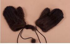 Genuine Brown Mink Knitted Women Men  Mink Fur Glove Mittens Nice