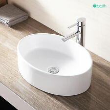 Sink Oval Bathroom Ceramic Vessel Bowl White Porcelain Basin w/Pop Up Drain