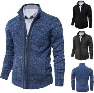 Men Zipper Stand-up Collar Cardigan Sweater Cotton Cable Knit Button with Pocket