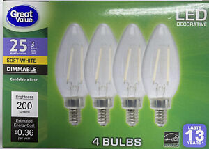 4pk Candelabra 25 Watt Eq LED Light Bulbs Dim 3 Watt 200 Lumen 2700K Soft White
