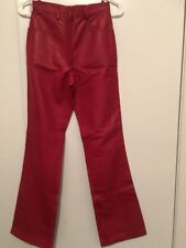 TERRY PARIS LEATHER PANTS  Made in France, Sz US 4 - BEAUTIFUL RED - NWT