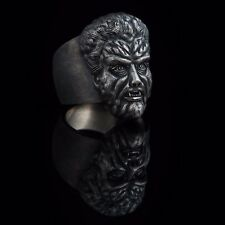 Wolfman Horror Ring, sterling silver, handmade