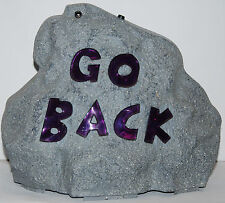 Halloween  Light Up Haunted Rock (Go Back) Purple Sign