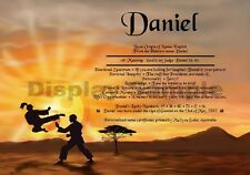 Peronsalised Gift - First Name Meaning Certificate  - Karate Sunset