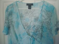 Blue Floral Empire Waist Top Blouse Short Sleeve Plus Size 2x 18/20