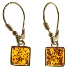 BALTIC AMBER STERLING SILVER 925 DROP DANGLING HOOPS SQUARE EARRINGS JEWELLERY