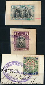 RHODESIA, CLASSIC LOT OF 3 DIFF. REVENUES ON FRAGMENTS TO £1 VALUE.  #A746