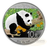 COLOR CHINESE SILVER PANDA - 2016 30 grams Pure Silver Coin Special Color Print