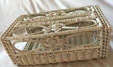 Vintage Wicker Tissue Box Cover Holder White Rectangular