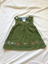 Cre8ions Green Corduroy Jumper Skirt with Embroidered Flowers 4T 100% Cotton