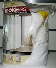 HOOKLESS Waffle 71-Inch x 86-Inch Fabric Shower Curtain Long in White