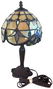 "Tiffany Style Desk Lamp Stained Glass 12.5"" Beige Table Flower Bedroom Bronze"